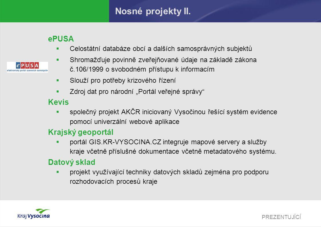 Nosné projekty II. ePUSA Kevis Krajský geoportál Datový sklad