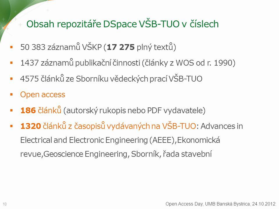 Obsah repozitáře DSpace VŠB-TUO v číslech