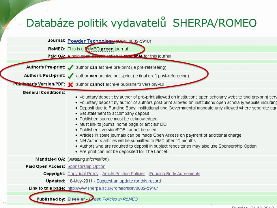 Databáze politik vydavatelů SHERPA/ROMEO