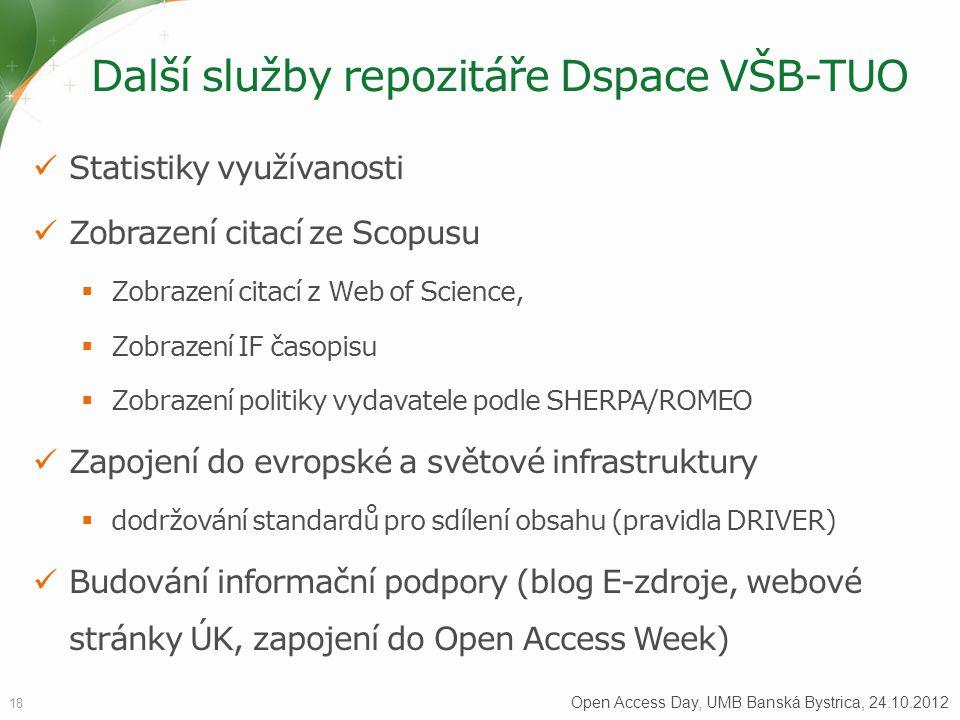 Další služby repozitáře Dspace VŠB-TUO