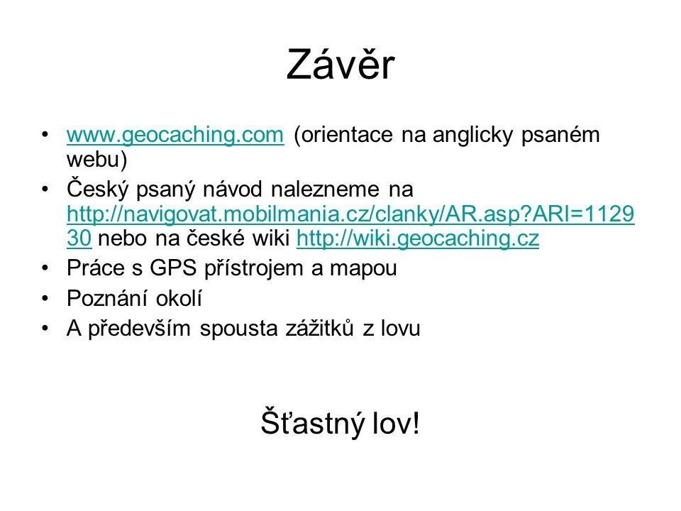 Závěr www.geocaching.com (orientace na anglicky psaném webu)