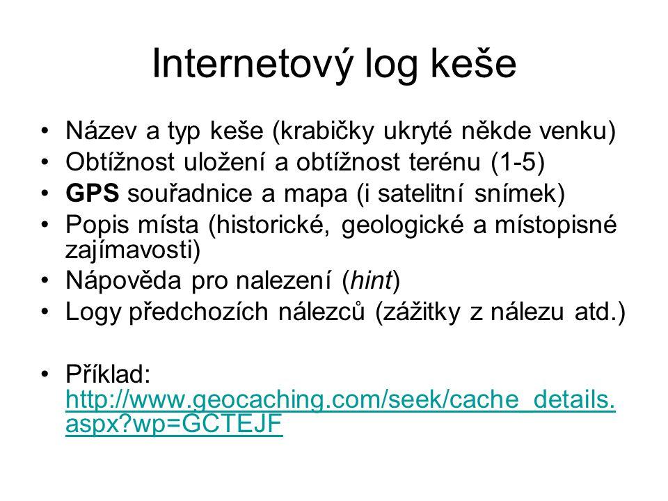 Internetový log keše Název a typ keše (krabičky ukryté někde venku)