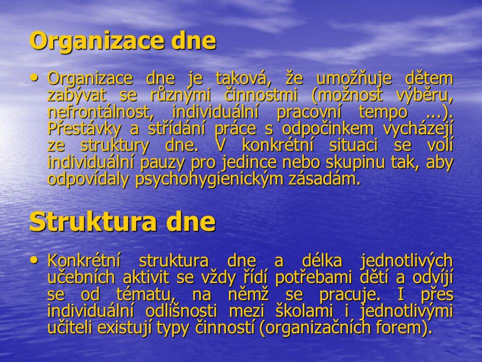 Struktura dne Organizace dne