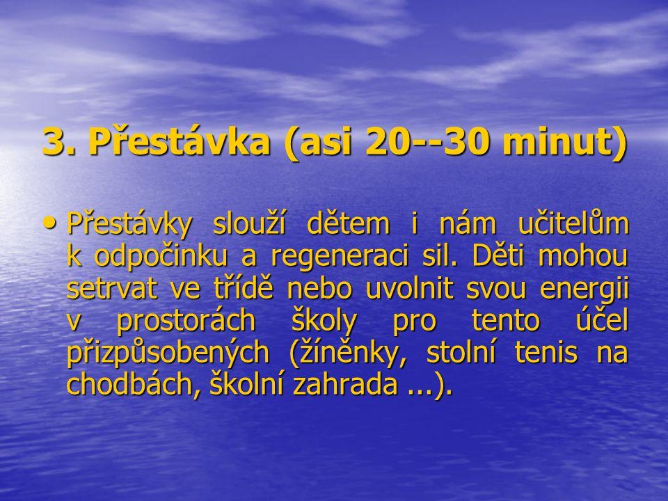 3. Přestávka (asi 20--30 minut)