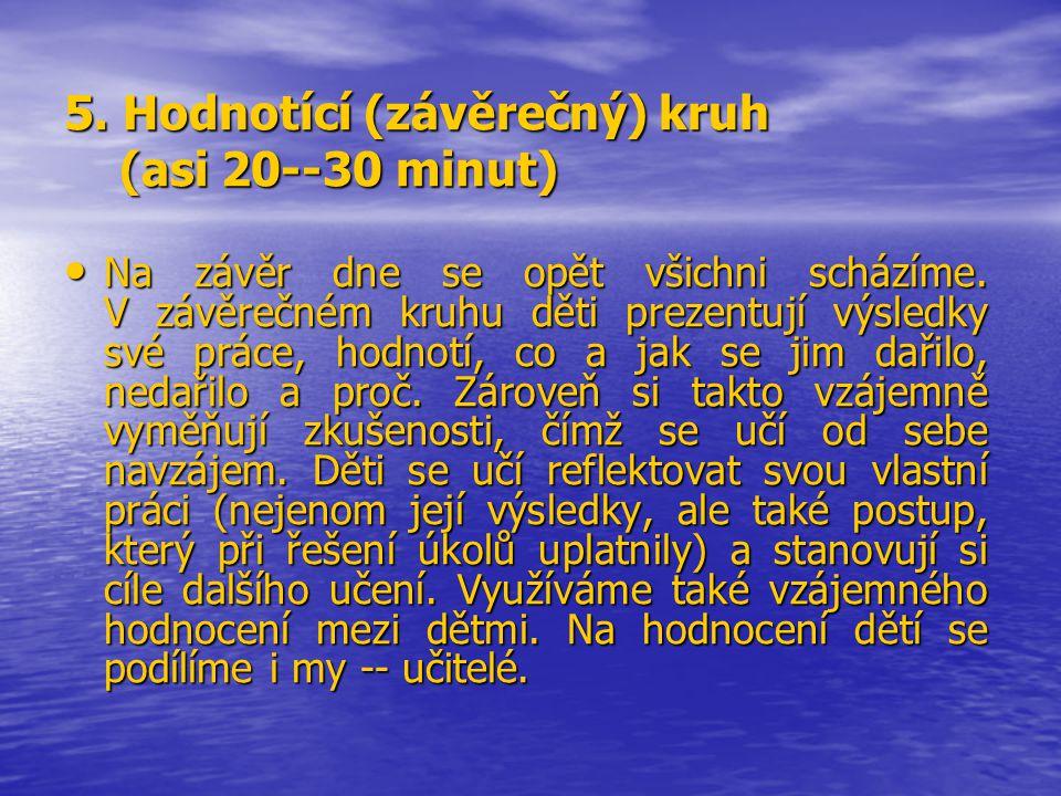 5. Hodnotící (závěrečný) kruh (asi 20--30 minut)