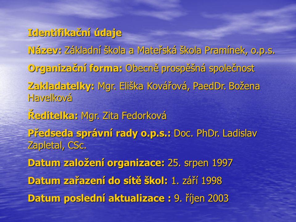 Identifikační údaje Název: Základní škola a Mateřská škola Pramínek, o.p.s. Organizační forma: Obecně prospěšná společnost.