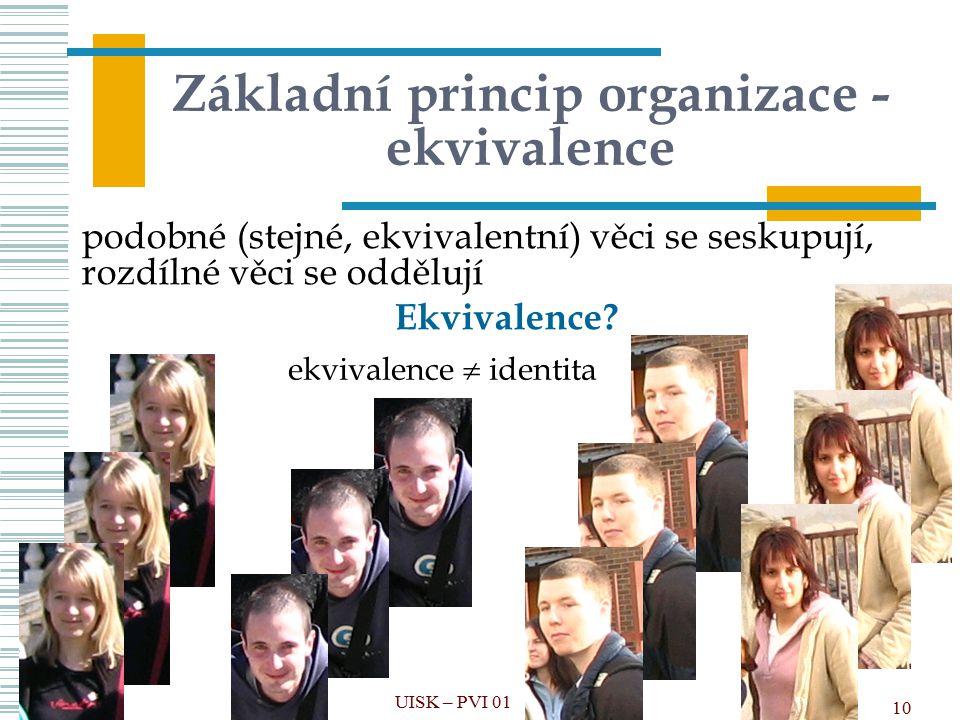 Základní princip organizace - ekvivalence