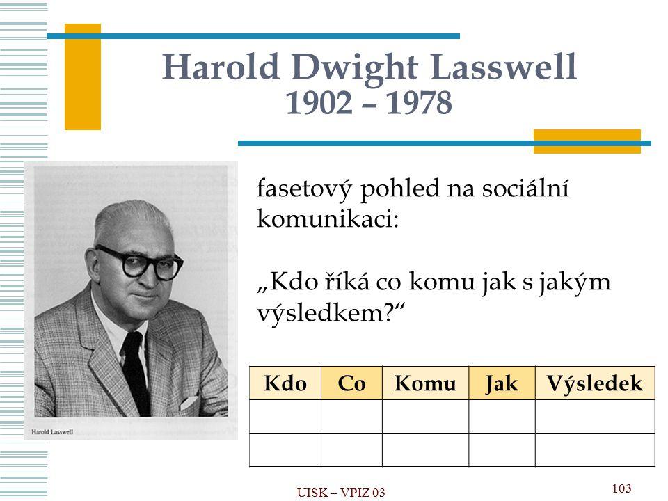 Harold Dwight Lasswell 1902 – 1978