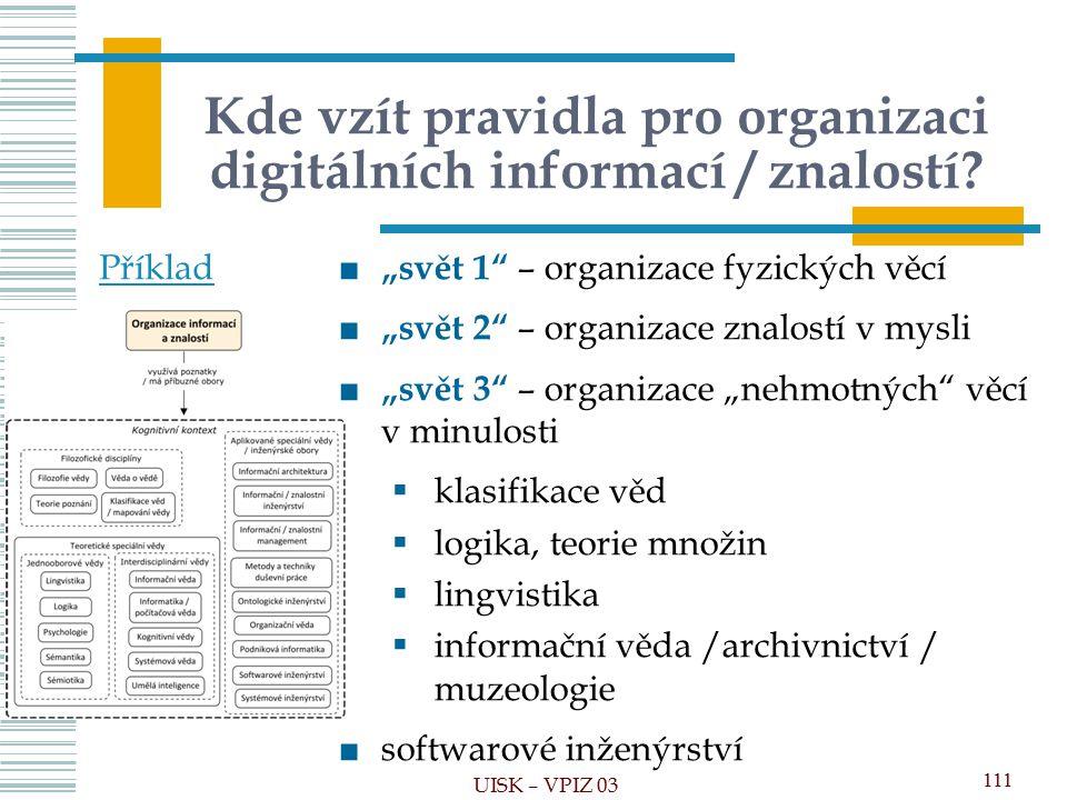 Kde vzít pravidla pro organizaci digitálních informací / znalostí