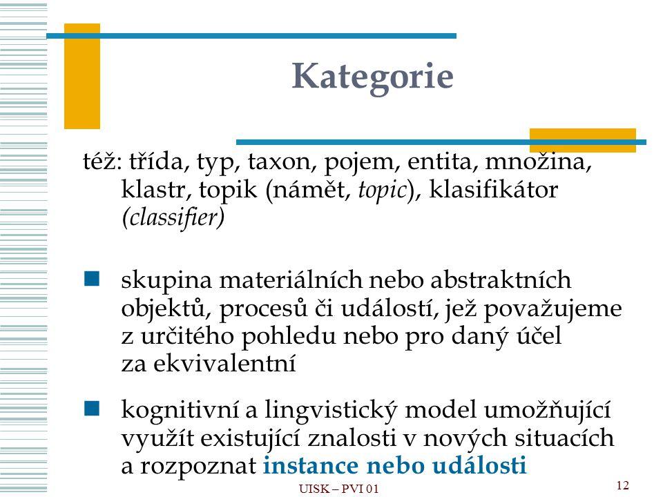 Kategorie též: třída, typ, taxon, pojem, entita, množina, klastr, topik (námět, topic), klasifikátor (classifier)