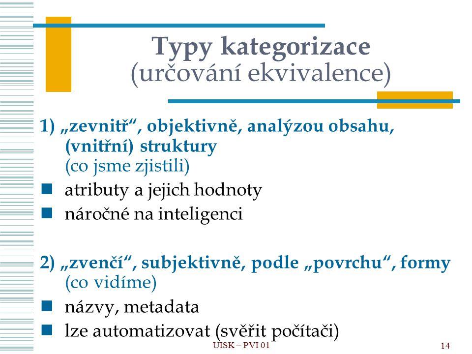 Typy kategorizace (určování ekvivalence)