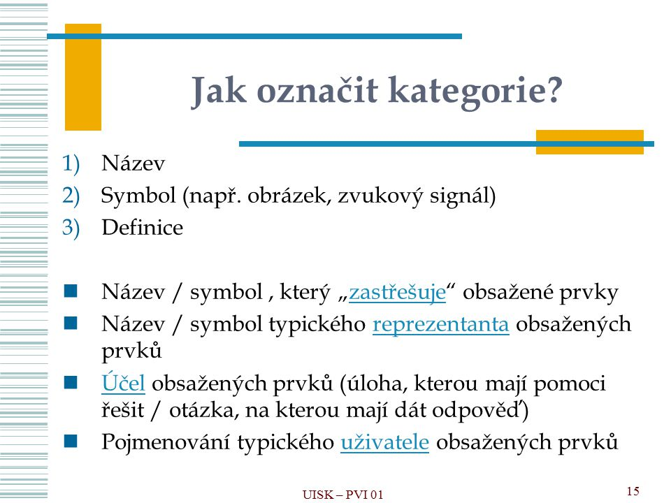 Jak označit kategorie Název Symbol (např. obrázek, zvukový signál)