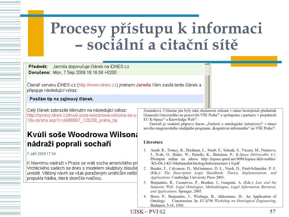 Procesy přístupu k informaci – sociální a citační sítě
