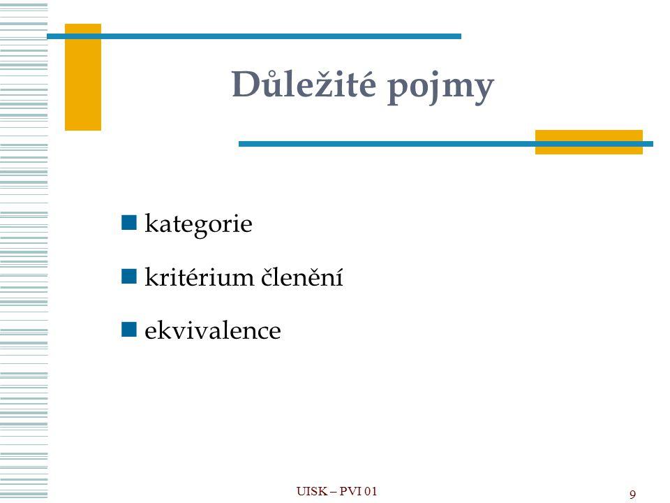 Důležité pojmy kategorie kritérium členění ekvivalence UISK – PVI 01