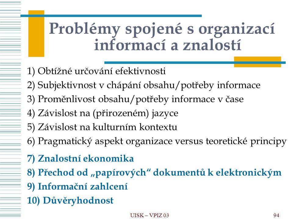 Problémy spojené s organizací informací a znalostí