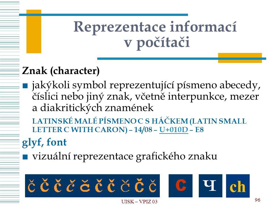 Reprezentace informací v počítači