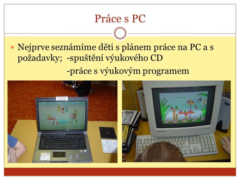Práce s PC Nejprve seznámíme děti s plánem práce na PC a s požadavky; -spuštění výukového CD.