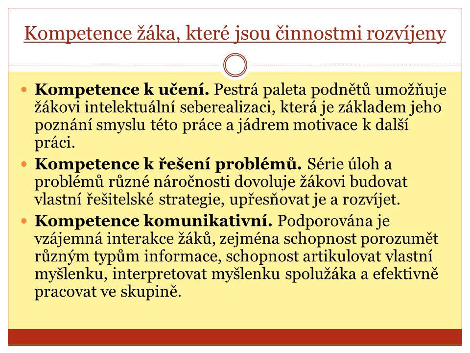 Kompetence žáka, které jsou činnostmi rozvíjeny