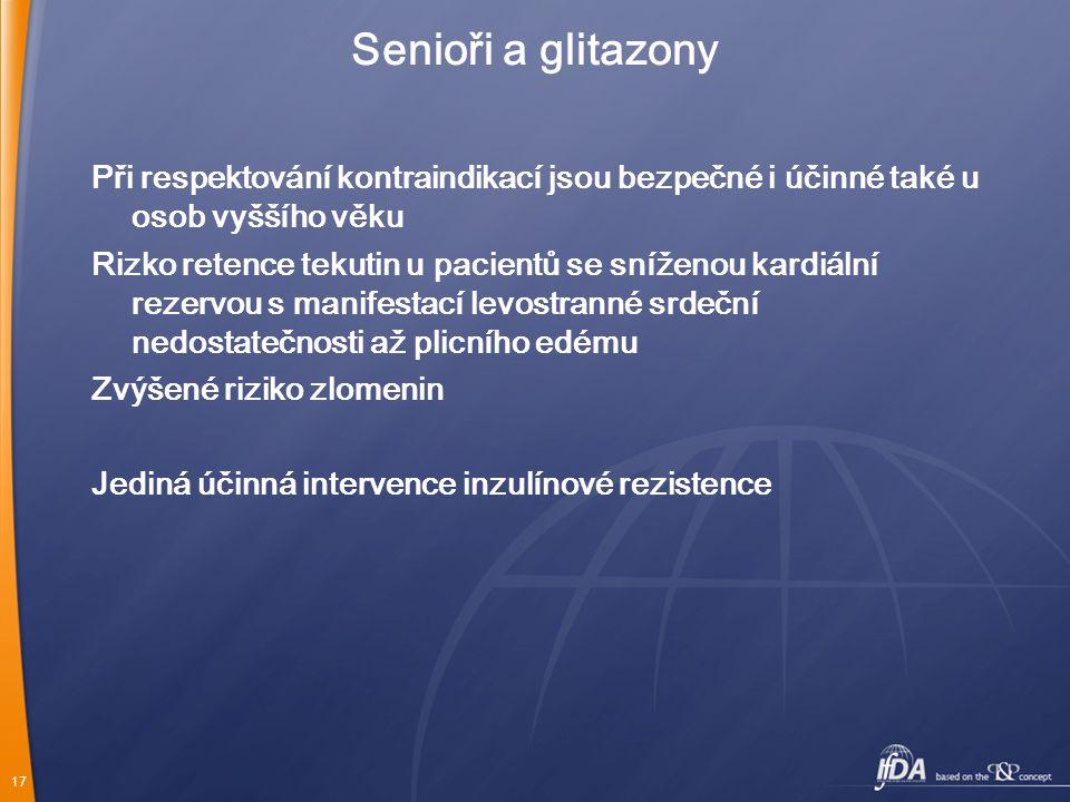 Senioři a glitazony Při respektování kontraindikací jsou bezpečné i účinné také u osob vyššího věku.