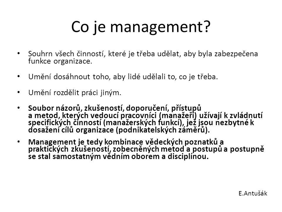 Co je management Souhrn všech činností, které je třeba udělat, aby byla zabezpečena funkce organizace.