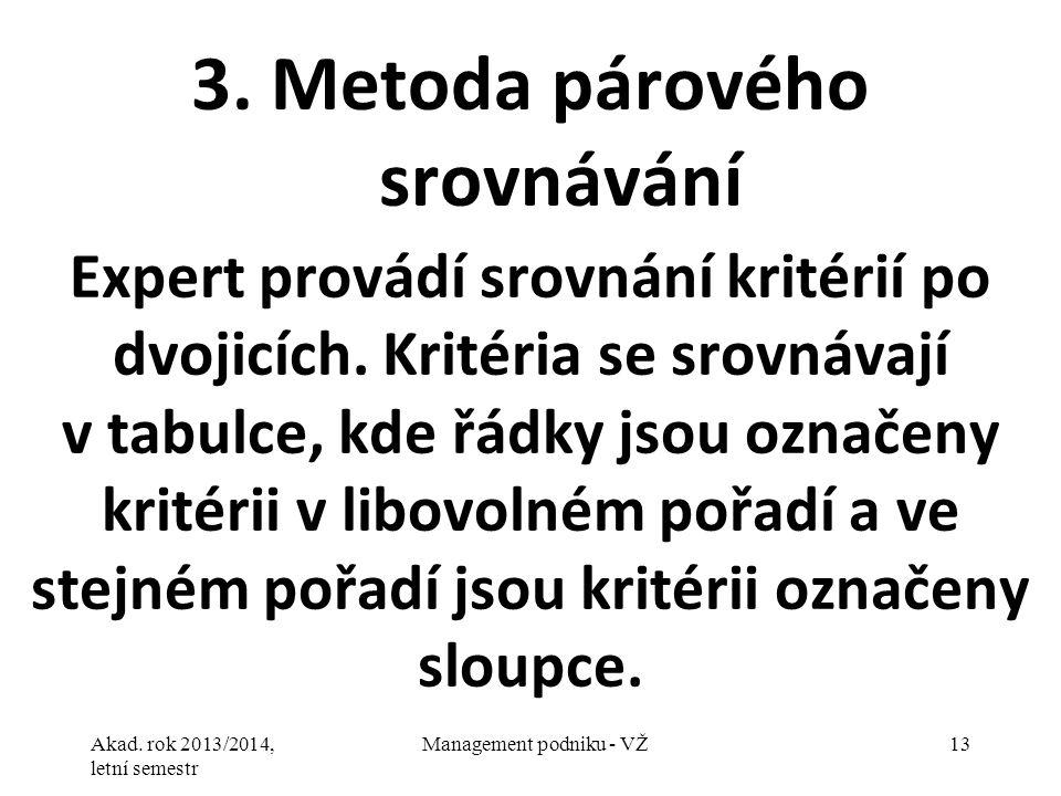 3. Metoda párového srovnávání