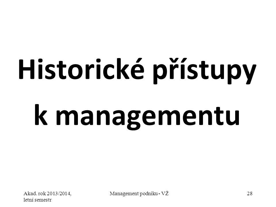 Historické přístupy k managementu