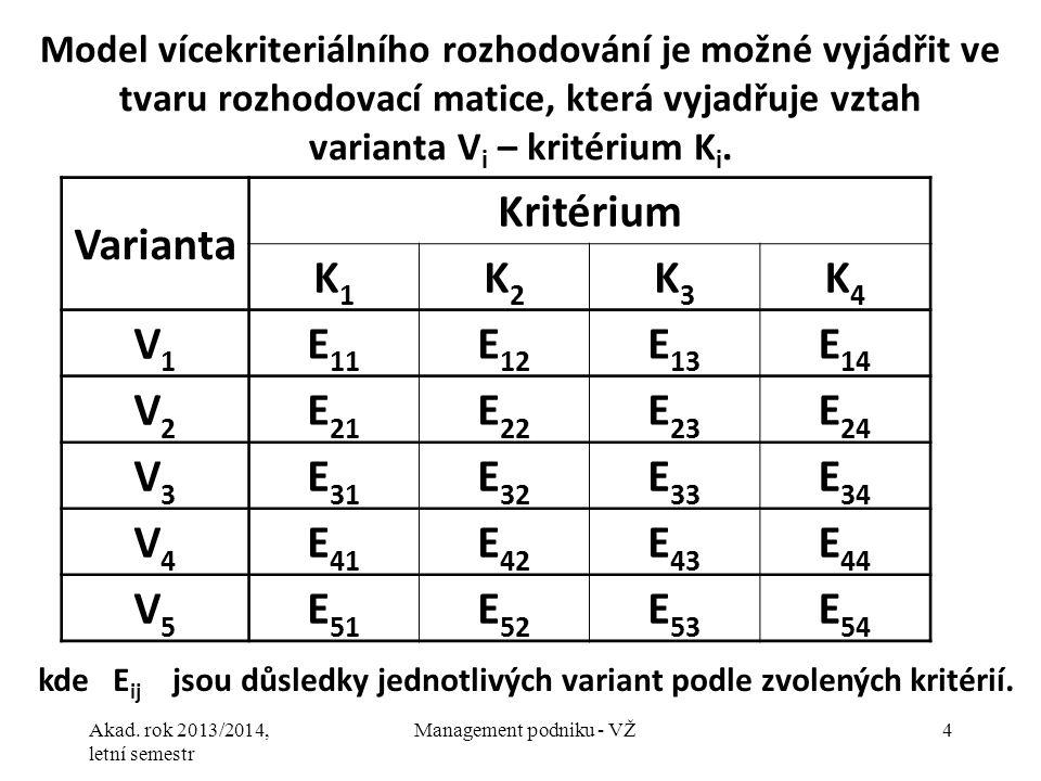 kde Eij jsou důsledky jednotlivých variant podle zvolených kritérií.