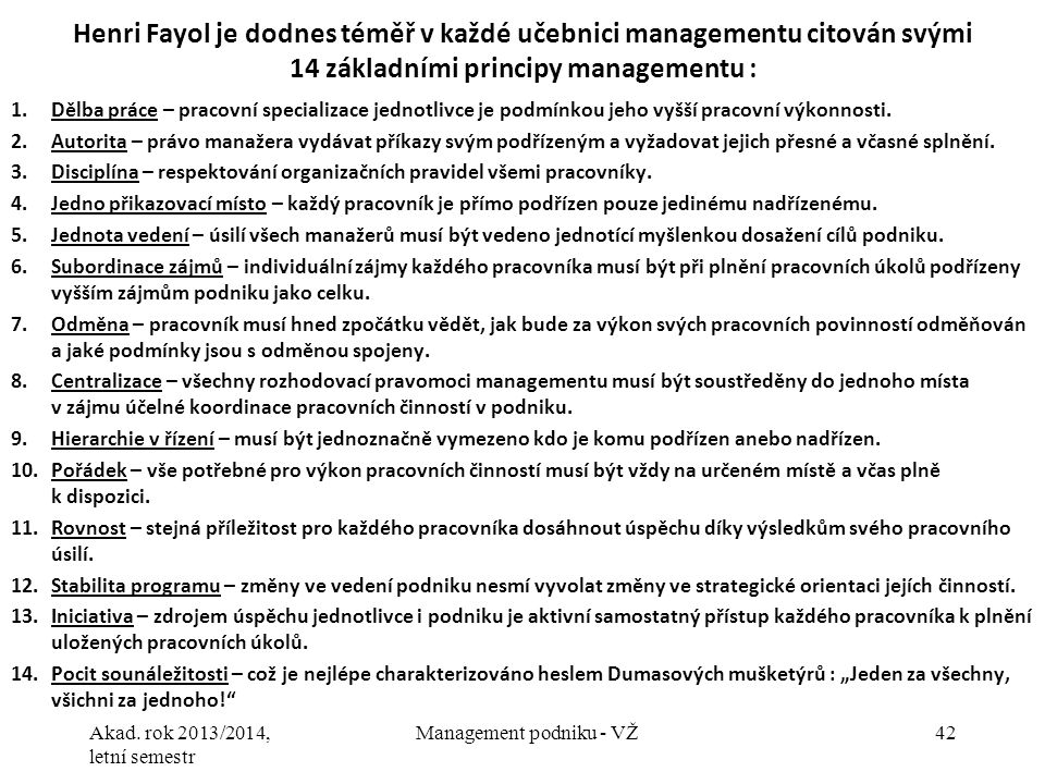 Management podniku - VŽ