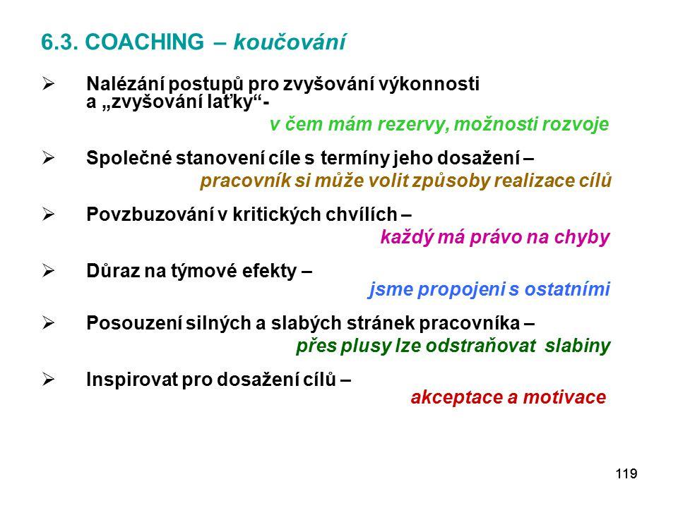 """6.3. COACHING – koučování Nalézání postupů pro zvyšování výkonnosti a """"zvyšování laťky -"""