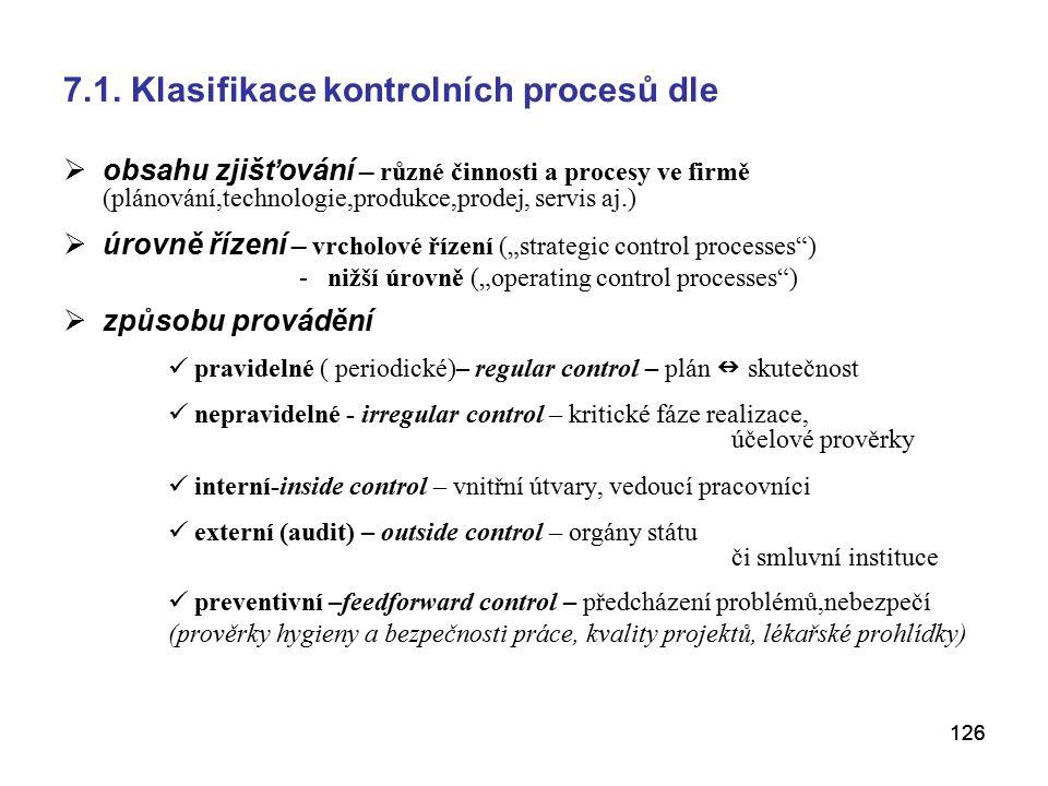 7.1. Klasifikace kontrolních procesů dle