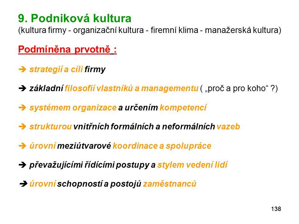 9. Podniková kultura (kultura firmy - organizační kultura - firemní klima - manažerská kultura)