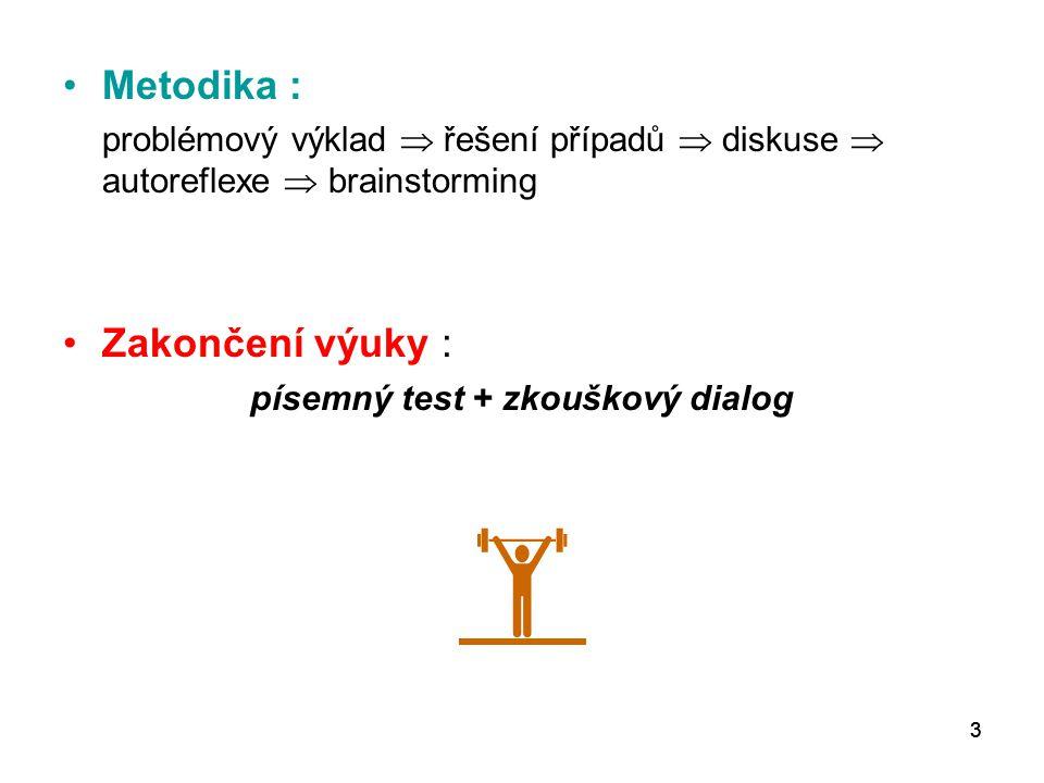 písemný test + zkouškový dialog