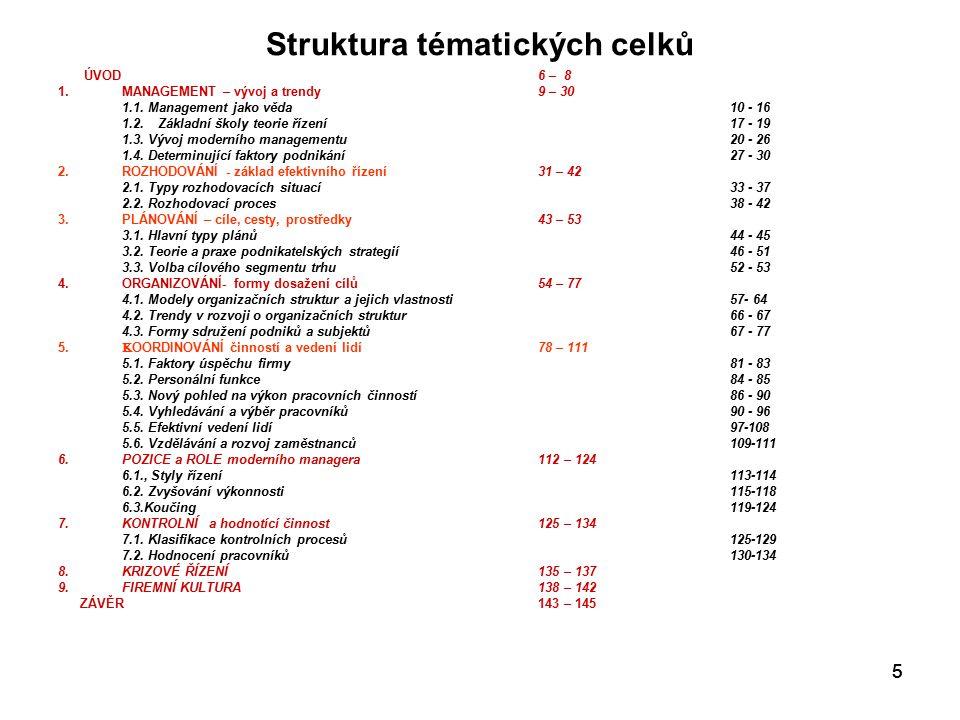 Struktura tématických celků