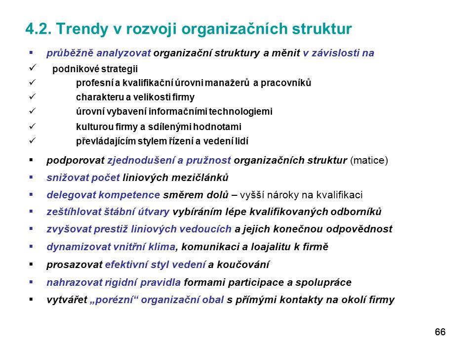 4.2. Trendy v rozvoji organizačních struktur