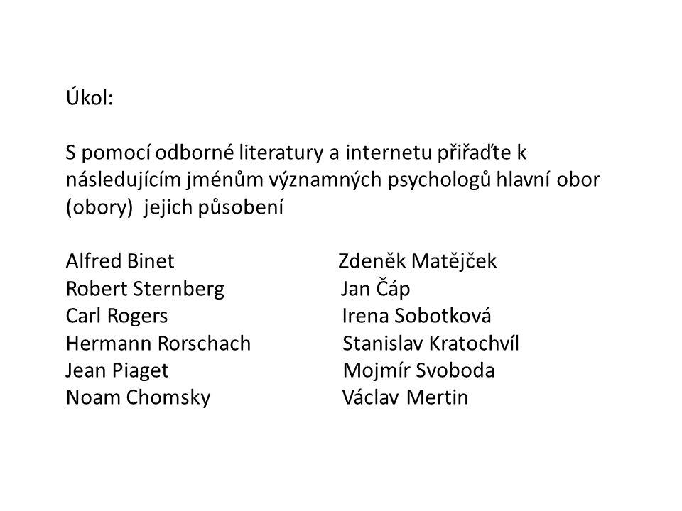 Úkol: S pomocí odborné literatury a internetu přiřaďte k následujícím jménům významných psychologů hlavní obor (obory) jejich působení.