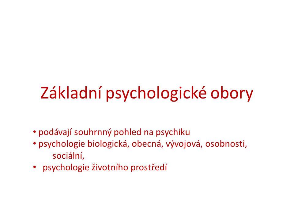 Základní psychologické obory