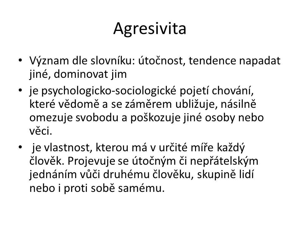 Agresivita Význam dle slovníku: útočnost, tendence napadat jiné, dominovat jim.