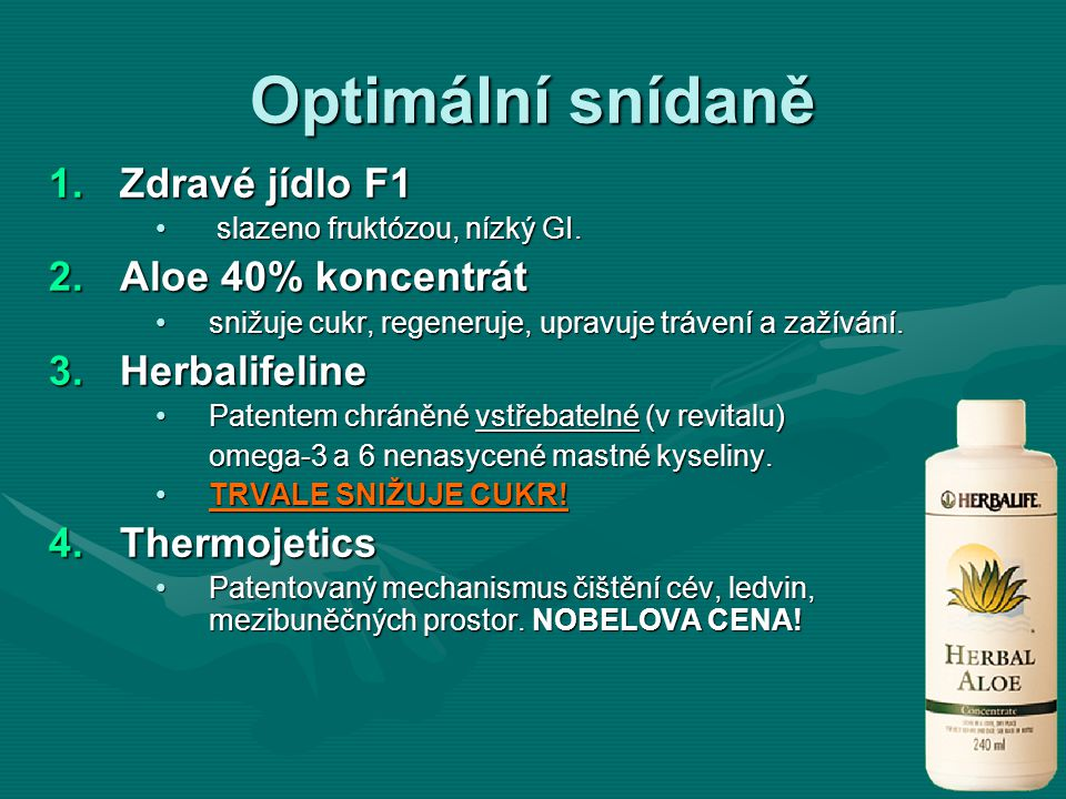 Optimální snídaně Zdravé jídlo F1 Aloe 40% koncentrát Herbalifeline