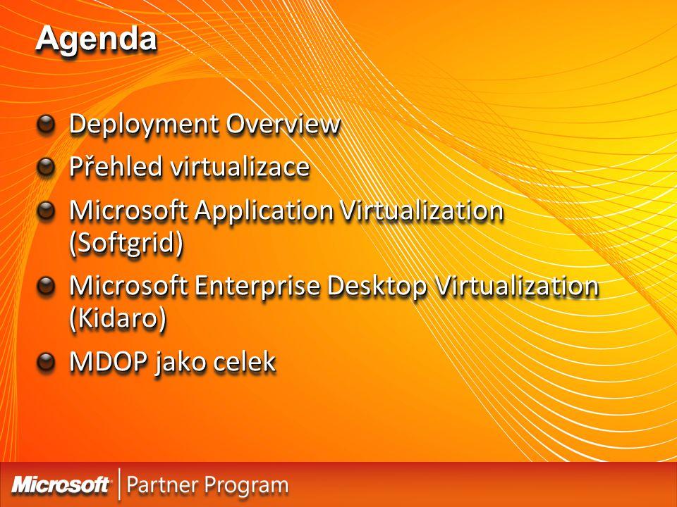 Agenda Deployment Overview Přehled virtualizace