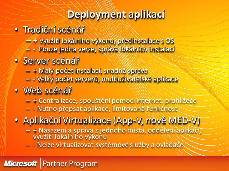 Deployment aplikací Tradiční scénář Server scénář Web scénář
