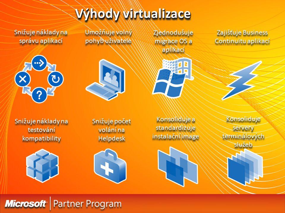 Výhody virtualizace Snižuje náklady na správu aplikací