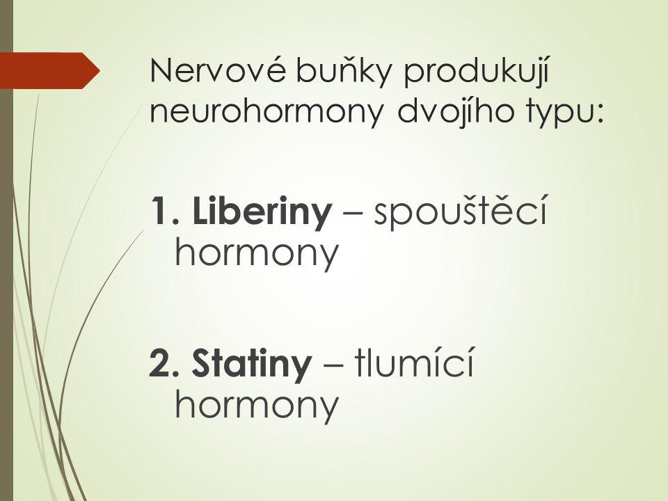 Nervové buňky produkují neurohormony dvojího typu: