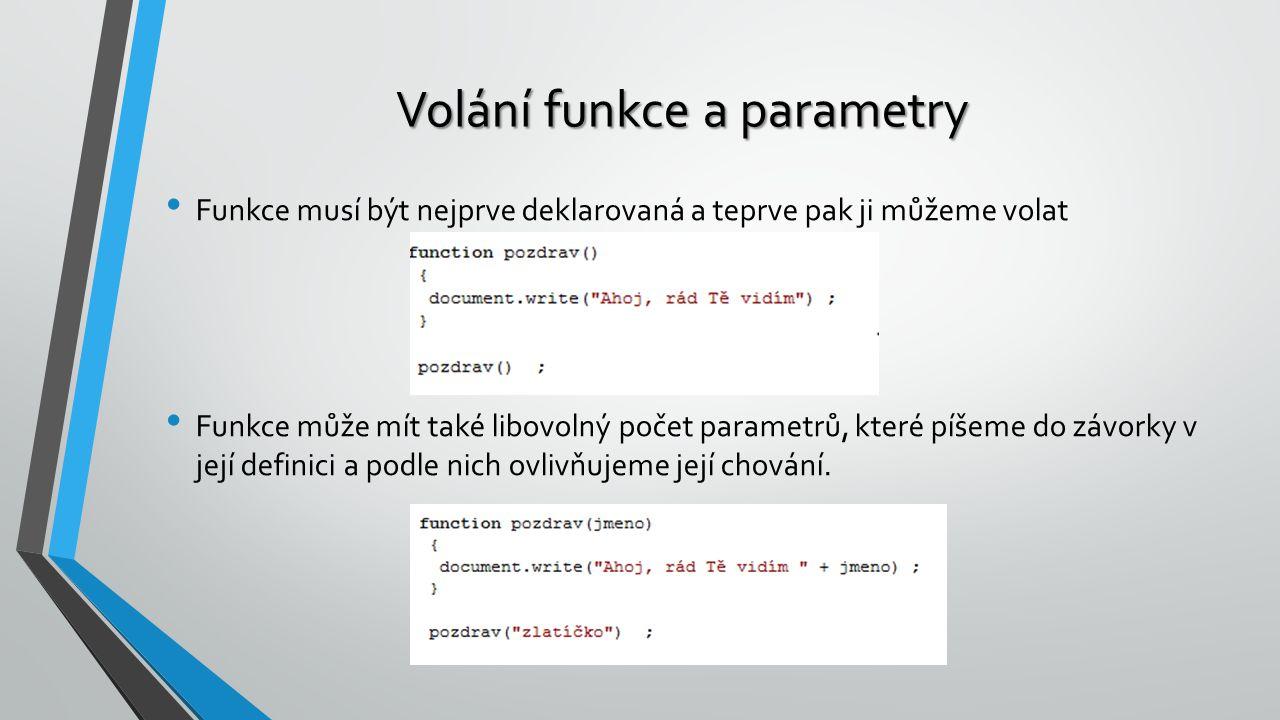 Volání funkce a parametry