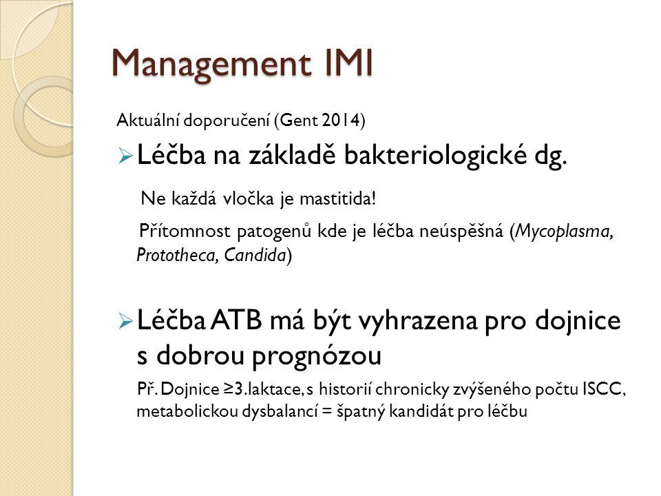 Management IMI Léčba na základě bakteriologické dg.