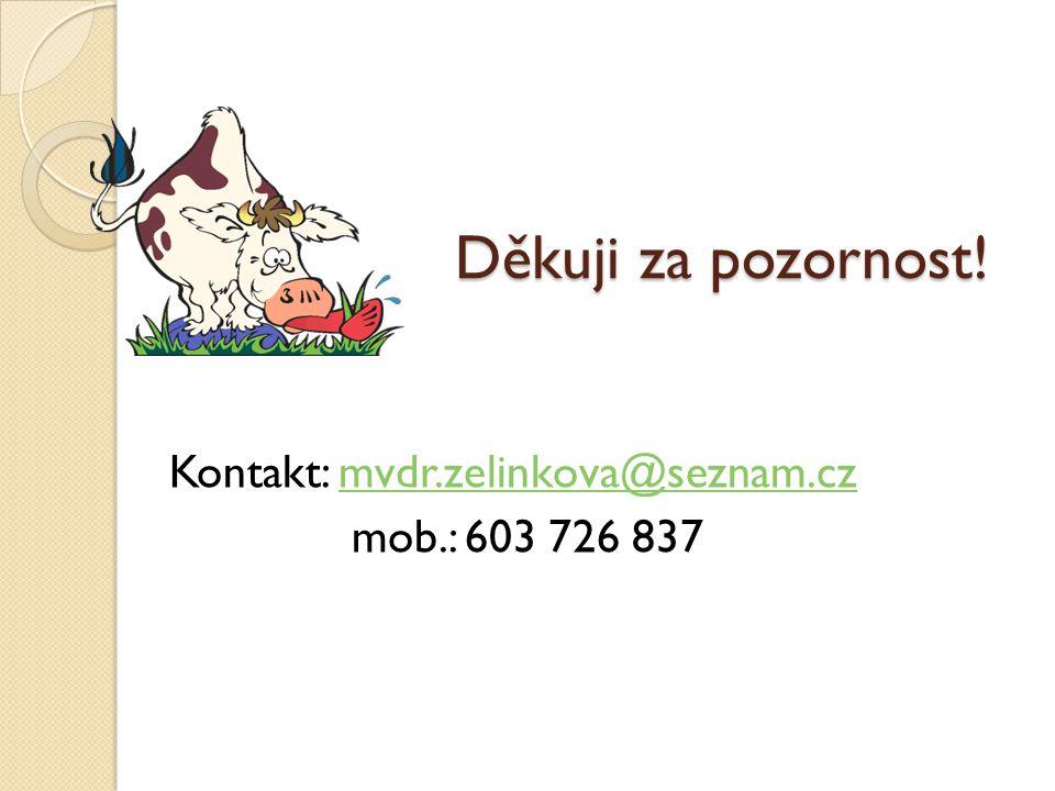 Děkuji za pozornost! Kontakt: mvdr.zelinkova@seznam.cz mob.: 603 726 837