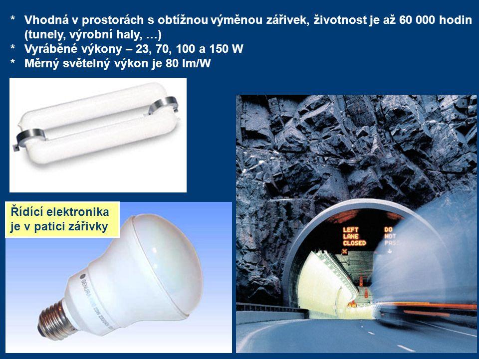 * Vhodná v prostorách s obtížnou výměnou zářivek, životnost je až 60 000 hodin (tunely, výrobní haly, …)