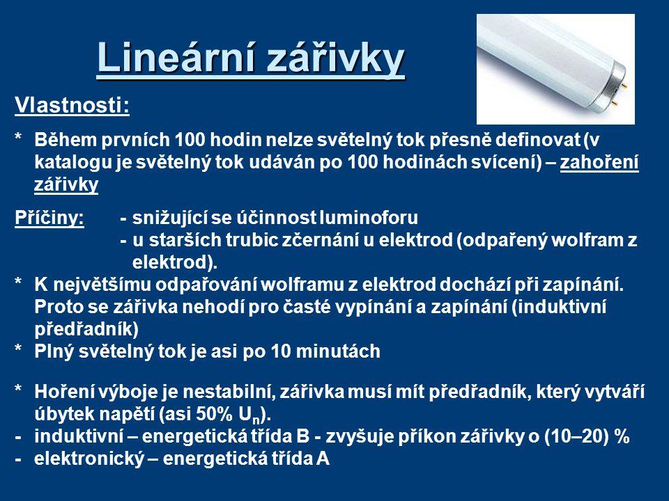 Lineární zářivky Vlastnosti: