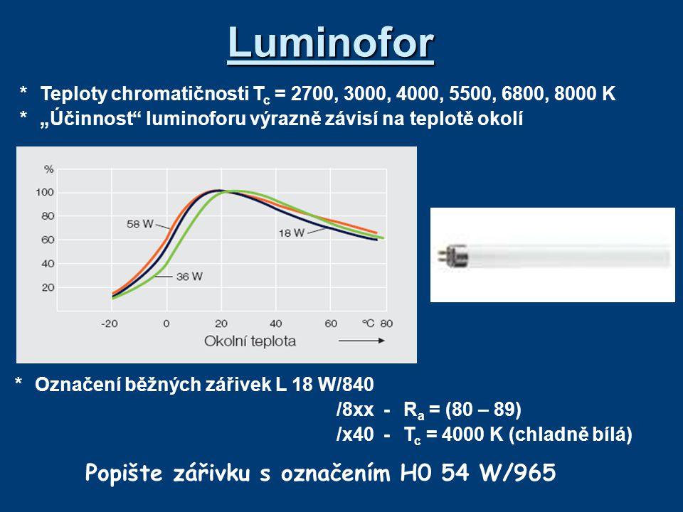 Popište zářivku s označením H0 54 W/965