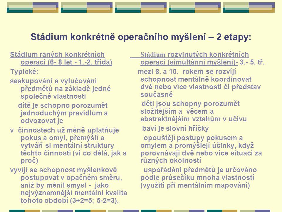 Stádium konkrétně operačního myšlení – 2 etapy: