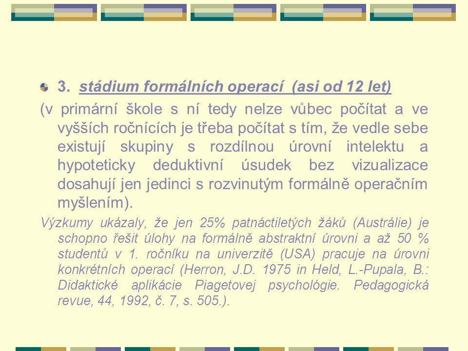 3. stádium formálních operací (asi od 12 let)